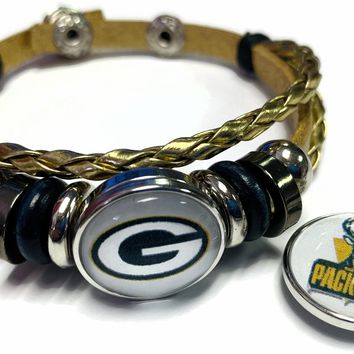 NFL Green Bay Packers Gold Leather Bracelet W/2 Football Logo Snap Jewelry Charms New Item