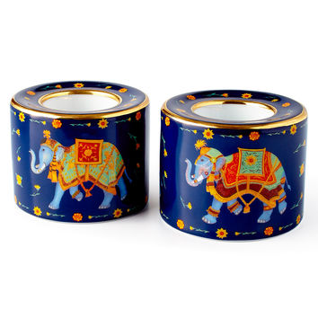 Ceremonial Indian Elephant Blue Tea Light Holders, Set of 2 - Halcyon Days
