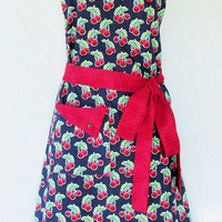 Navy Blue Cherry Apron, Full Retro Apron, Polka Dots, Red Cherries, Vintage Style, KitschNStyle