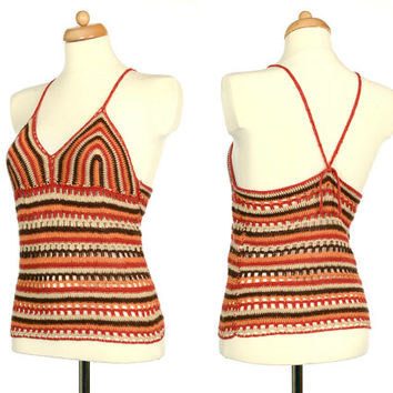 Crochet Top - Vintage Terracotta Halter Top