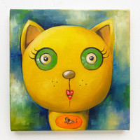 Kitty Portrait, Original Art, Animals, Yellow Cat, Weird Cat, Cat Lovers, Oil on canvas, MikiMayo