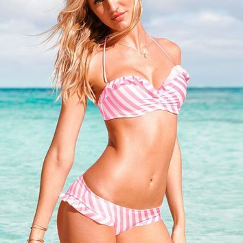 Hot Beach Summer New Arrival Swimsuit Pink Stripes Swimwear Sexy Stylish Ruffle Bikini [6048411009]