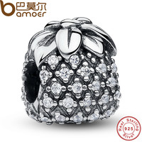 925 Sterling Silver Sparkling Tropical Pineapple Clear CZ Charm Fit Bracelet DIY Accessories Jewelry PAS067