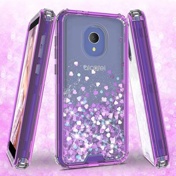 Alcatel 1x Evolve Case,Hard Clear Glitter Sparkle Flowing Liquid Heavy Duty Shockproof Three Layer Protective Bling Girls Women Cases for Alcatel 1x Evolve - Purple