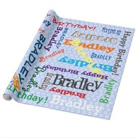 Custom Birthday Name On Blue Wrapping Paper