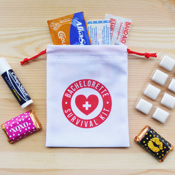 Bachelorette Party Favor, Survival Kit, Bachelorette Survival Kit, Bachelorette Favor, 4 x 5 favor bags