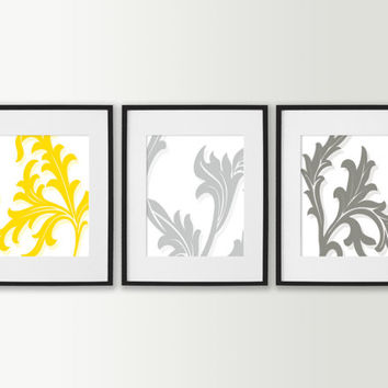 Floral Art Prints - Modern Living Room Art - Living Room Decor - Modern Art Prints - Floral Home Decor - Set of 3 Flowers Dining Room Decor