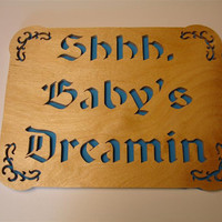 Shhh Baby's Dreamin Blue Wall Hanging Plaque by KevsKrafts on Etsy