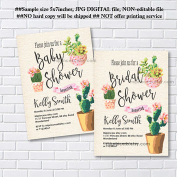 Cactus baby shower, bridal shower , watercolor Cactus invite , Cactus Succulent, Baby Shower Bridal shower, floral flower,  - card 1182