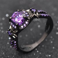 Charming Stone Ring Purple Zircon Fashion Women Wedding Flower Jewelry Black Gold Filled Engagement Rings Bague Femme RB0433