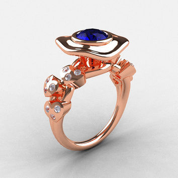18K Rose Gold Blue Sapphire Diamond Leaf and Mushroom Wedding Ring, Engagement Ring NN103A-18KRGDBS