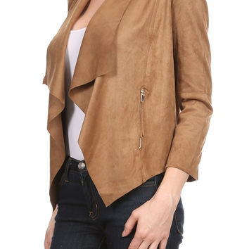Faux Suede Drape Neck Jacket