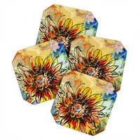Ginette Fine Art Sunflower Moroccan Eyes Coaster Set