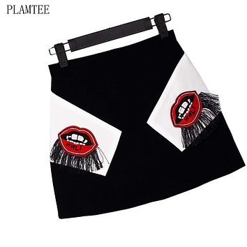 Summer A-Line Skirt Embroidered Lips Fringed Mini Skirts Women High Waist Half-length Skirt Fashion Ladies Saia De Cintura Alta