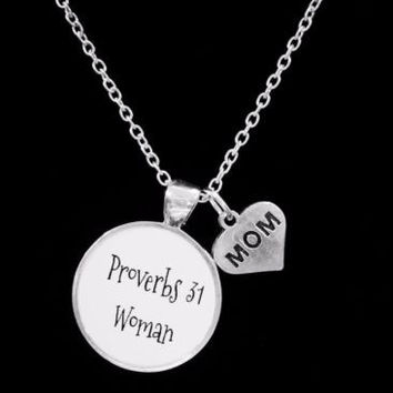 Proverbs 31 Woman Inspirational Bible Scripture Mom Gift Necklace