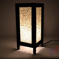 White Mulberry paper Table Lamp 11 inch High The Spiral Style Lantern Beside Bedroom Lamp Decoration