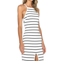 The Fifth Label Don't Panic Midi Dress in White & Black