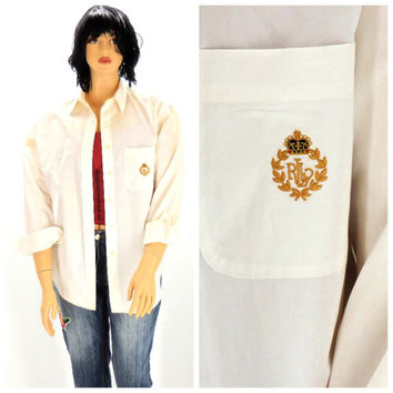 Vintage 80s Polo Ralph Lauren white cotton oxford shirt L, 1980s Polo preppy long sleeve white blouse size 14, SunnyBohoVintage