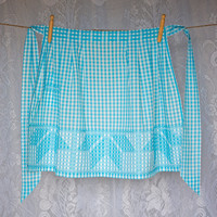 Vintage Gingham Half Apron Cross Stitch Feature, Aqua Blue and White Plaid, Front Pocket, Pleats at waist, Scandinavian hostess style