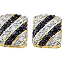 Black Diamond Fashion Earrings in 10k Gold 0.27 ctw