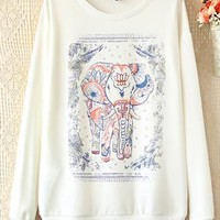 Cute Elephant Print Cotton Tee White