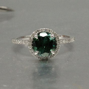 7mm Tourmaline Engagement ring White gold,Diamond wedding band,14k,Round Cut,Green Gemstone Promise Bridal Ring,Claw Prongs,Pave,Handmade