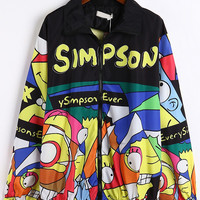 Simpson Print Long Sleeve Zipper Coat