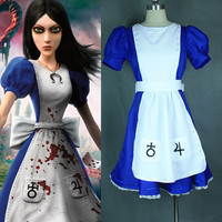 High Quality Alice Madness Returns Alice cosplay costume  Custom Size Halloween