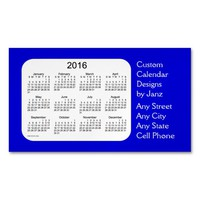 2016 Denim Blue Business Calendar by Janz Magnet Magnetic Business Cards (Pack Of 25)