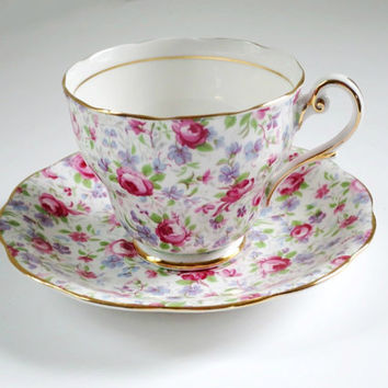 Vintage Rose Chintz Tea Cup and Saucer,  Pink Chintz Tea Cup and Saucer, Teacup and Saucer Royal Standard Rose Chintz SwirlingOrange11