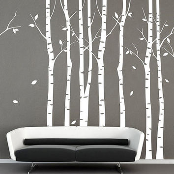 9 birch trees decal wall decals Tree wall decal nature wall decals white birch wall stickers birch trees baby nursery room vinyl wall decor