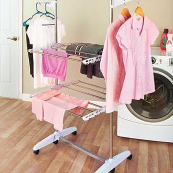 Clothes Rack Laundry Folding Station Cart Space Saver Portable Drying Dryer Hang