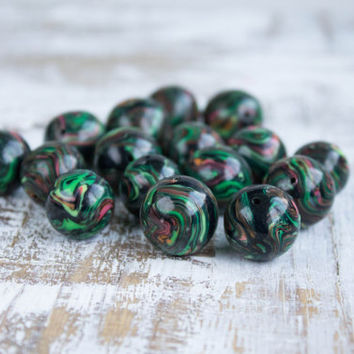 20mm Beads, Clay Beads, Polymer Clay Beads, Large Round Beads, Whimsical Beads, 2 mm Hole Beads, Hand made Bead, Crafts