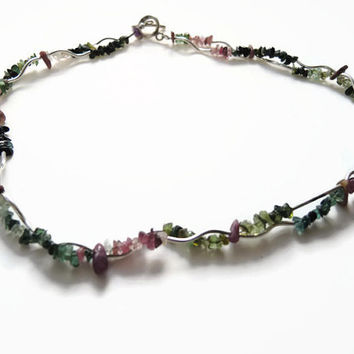 Multicolor tourmaline necklace, handmade beaded choker made of tourmaline,  silver tubes, silver clasp, modern design: FlorenceJewelshop