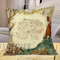 Neverland Peter Pan on Square Pillow Cover