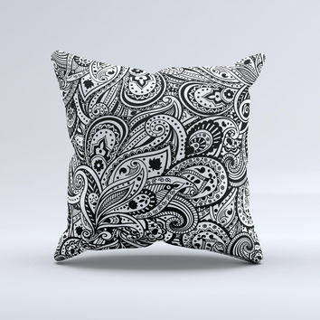 The Black and White Aztec Paisley ink-Fuzed Decorative Throw Pillow