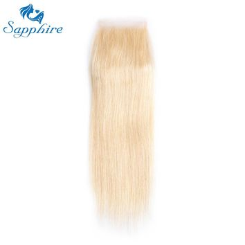 Sapphire Remy Hair Products Brazilian Raw Hair Lace Closure 613 Blonde Color For Hair Salon High Ratio Longest Hair PCT 15%