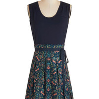 Sleeveless A-line Scenic Road Trip Dress in Navy and Foxes