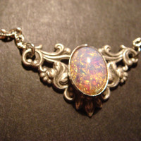 Victorian Style Fire Opal Necklace in Antique Silver (477)