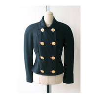 Auth VERSUS Gianni Versace Wool Suede Golden Button Jacket