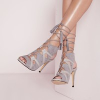 Missguided - Contrast Lace Up Sandals Grey