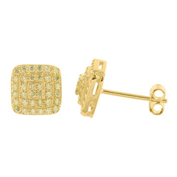Yellow Gold Finish Canary Lab Diamond Sterling Silver Earring
