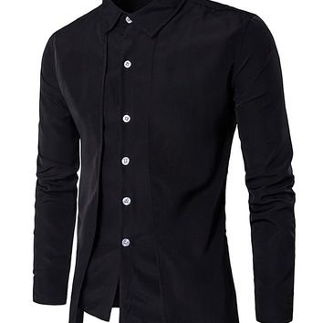 xingoukeji Men's Long Sleeve Casual Shirt Button Slim Fit Solid Formal Office Tops, Black L