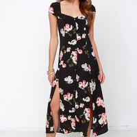 Mink Pink Moon Flower Black Floral Print Maxi Dress