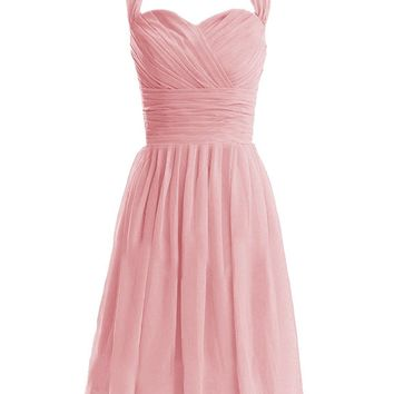Fashion Plaza Women's Short Halter Bridesmaid Dresses Sweetheart Formal Party Gowns Backless