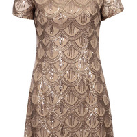Andrea SCALLOP SEQUIN SHIFT DRESS ROSE GOLD