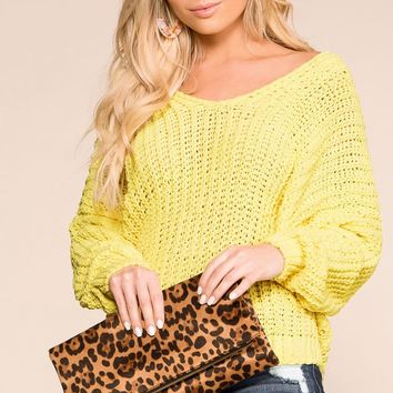 Feeling Good Yellow Oversize Knit Sweater