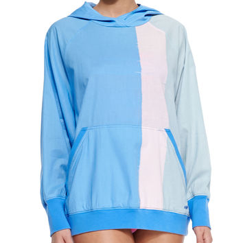 Jodie Colorblock Hooded Popover Coverup, Size: