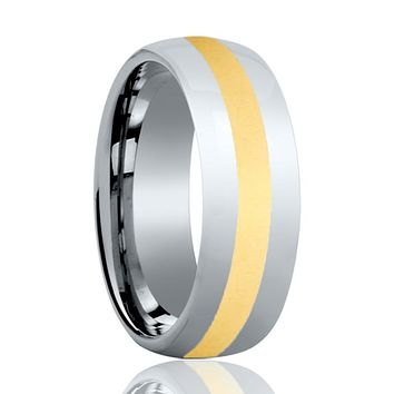 Aydins Mens and Womens Tungsten Carbide Wedding Band Ring Polished Gold Center 6mm, 8mm
