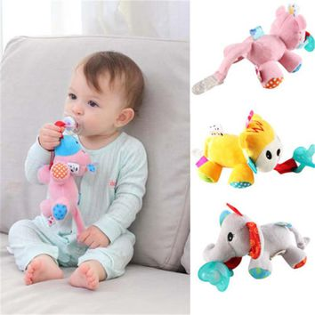 Baby Soothie Boy Girl Animal Toddler Infant Kids Silicone Pacifiers Cuddly Plush Boys Girls